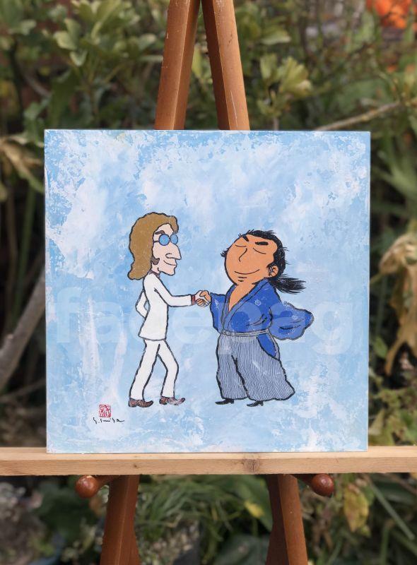 画像1: 坂本龍馬イラスト原画 - 龍馬とジョンレノン -