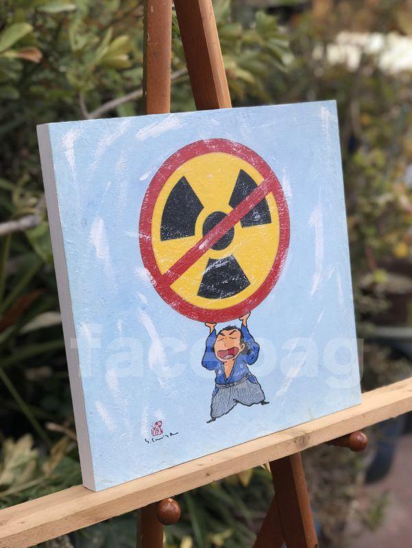 画像2: 坂本龍馬イラスト原画 - 龍馬の核兵器反対! -
