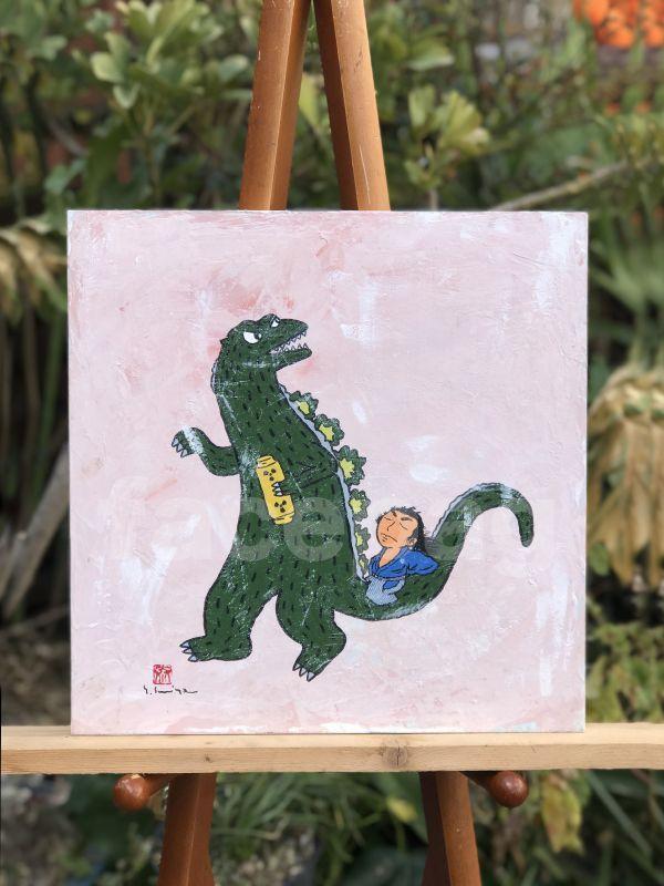 画像1: 坂本龍馬イラスト原画 - 龍馬とゴジラ -