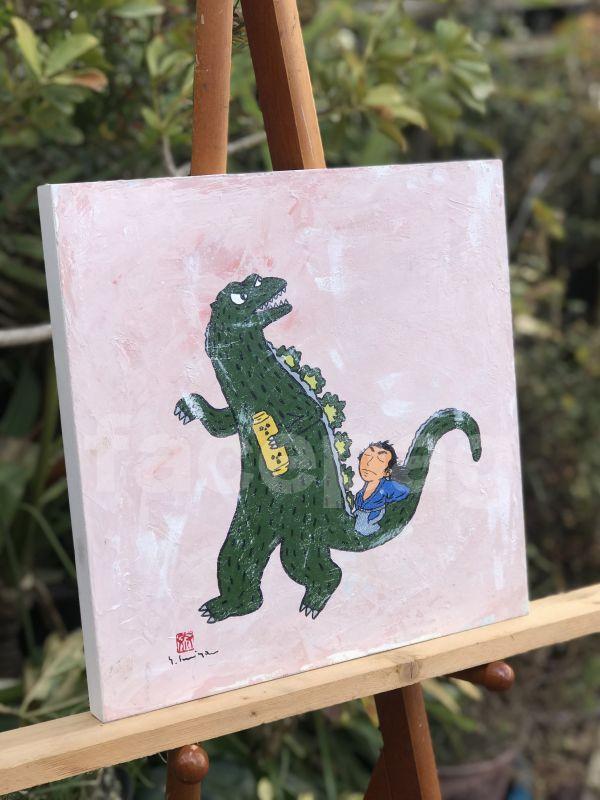 画像2: 坂本龍馬イラスト原画 - 龍馬とゴジラ -