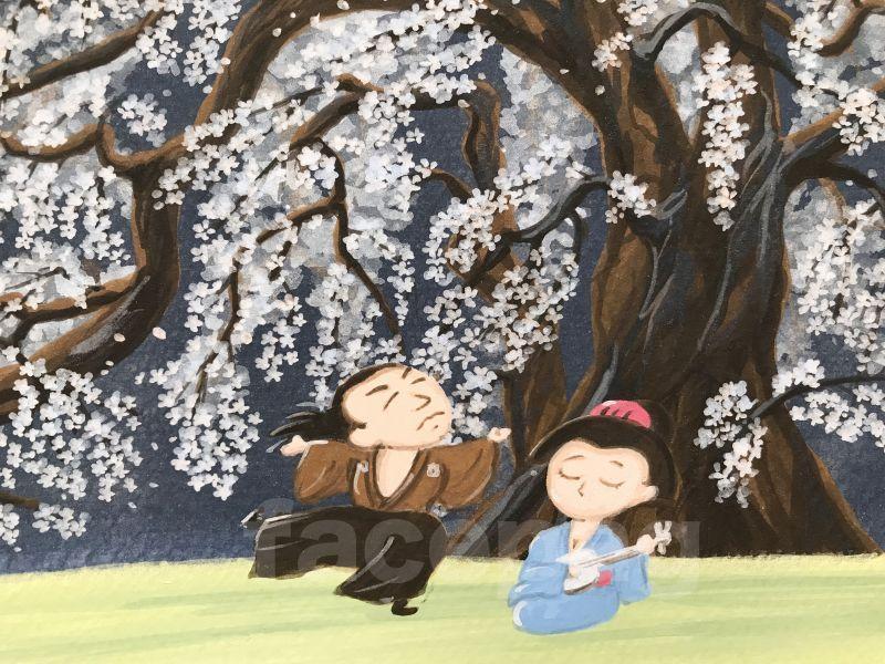 画像3: 坂本龍馬イラスト原画 - 桜の木の下で、、、 -