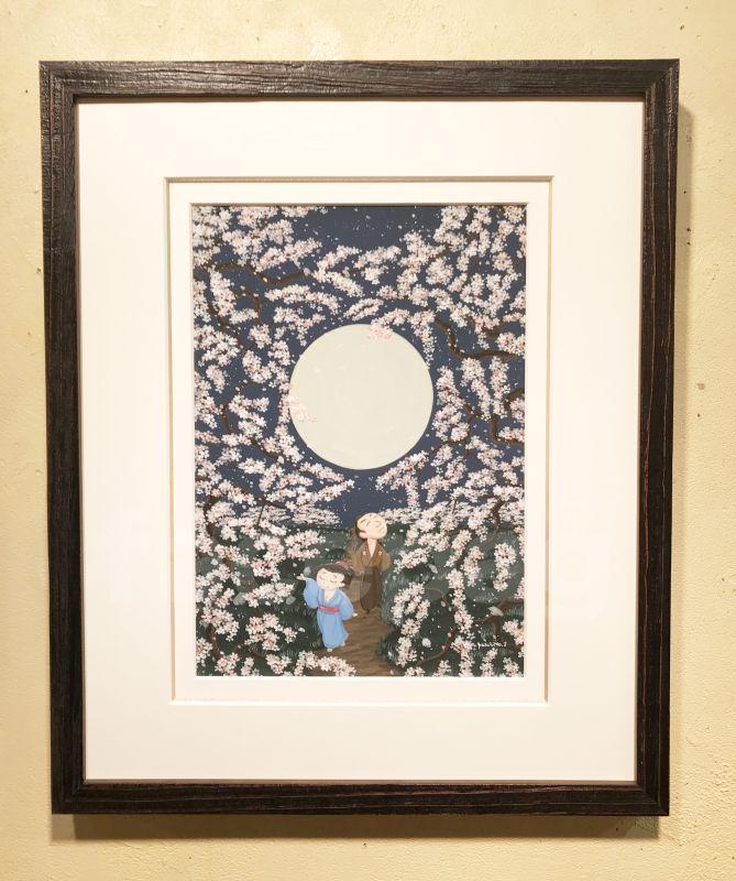 画像1: 坂本龍馬イラスト原画 - おりょうさんの花見2 -