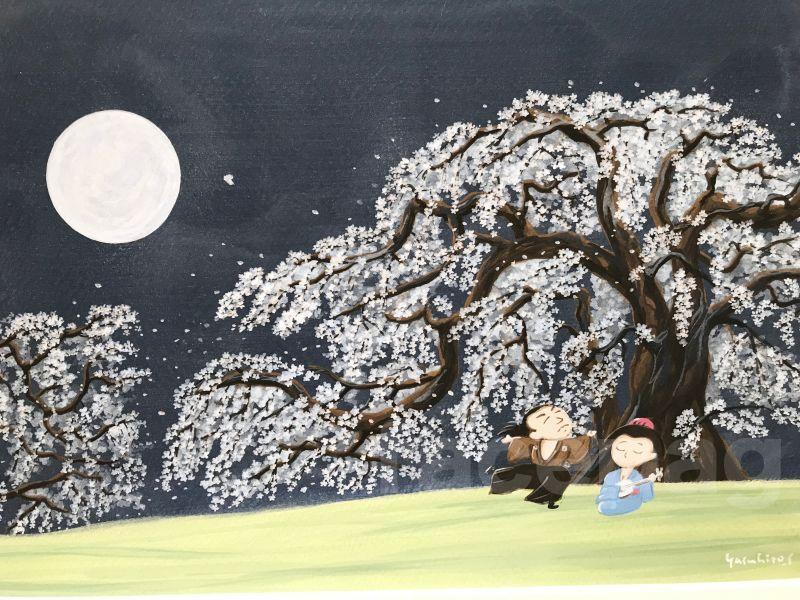 画像2: 坂本龍馬イラスト原画 - 桜の木の下で、、、 -